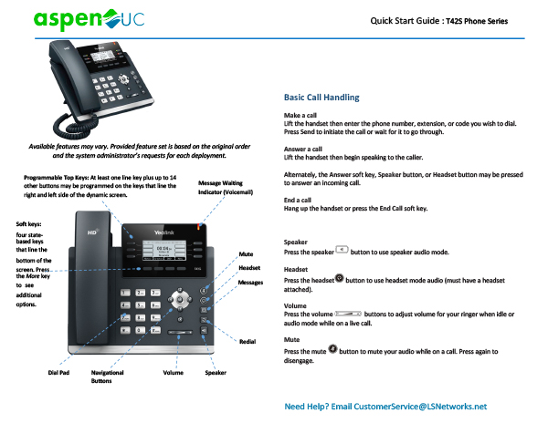 Yealink T42S Phone Series Quick Start Guide
